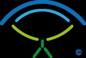 Het logo oog met poppetje van de nieuwetijdscoach
